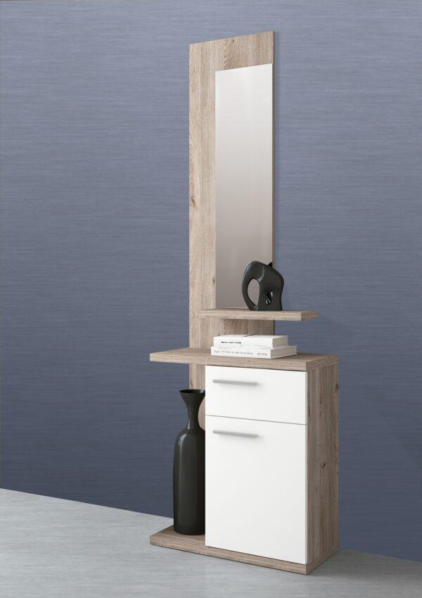 recibidor enter con espejo cajon puerta y estantes