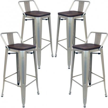 pack de 4 taburetes altos metalicos bexley gris industrial estilo tolix furniture style