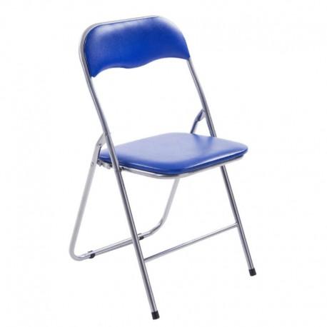 silla plegable metal tapiz azul