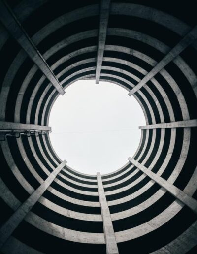 looking up in circlular architecture